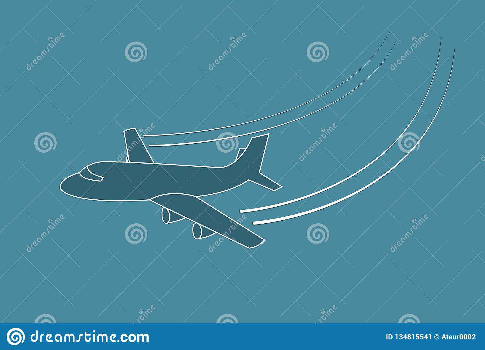Airplane flying with changing direction using lines on blue background vector illustration for transport industry