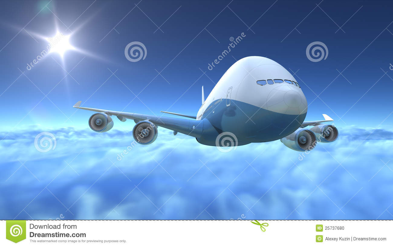 Airplane flying over clouds stock photo image 25737680