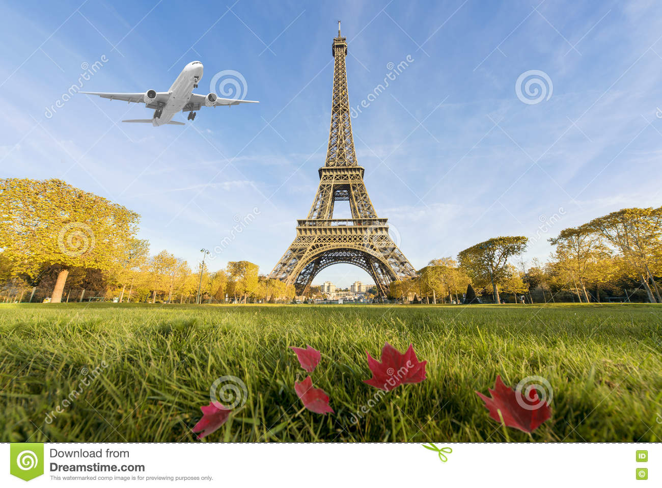Luxury Airplane Over Eiffel Tower : Airplane flying over eiffel tower paris france stock