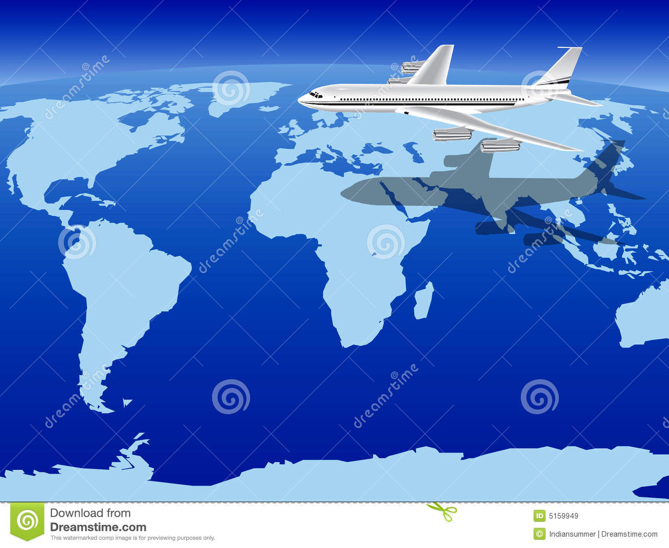 Air Plane Flying Classic World Map Royalty Free Stock