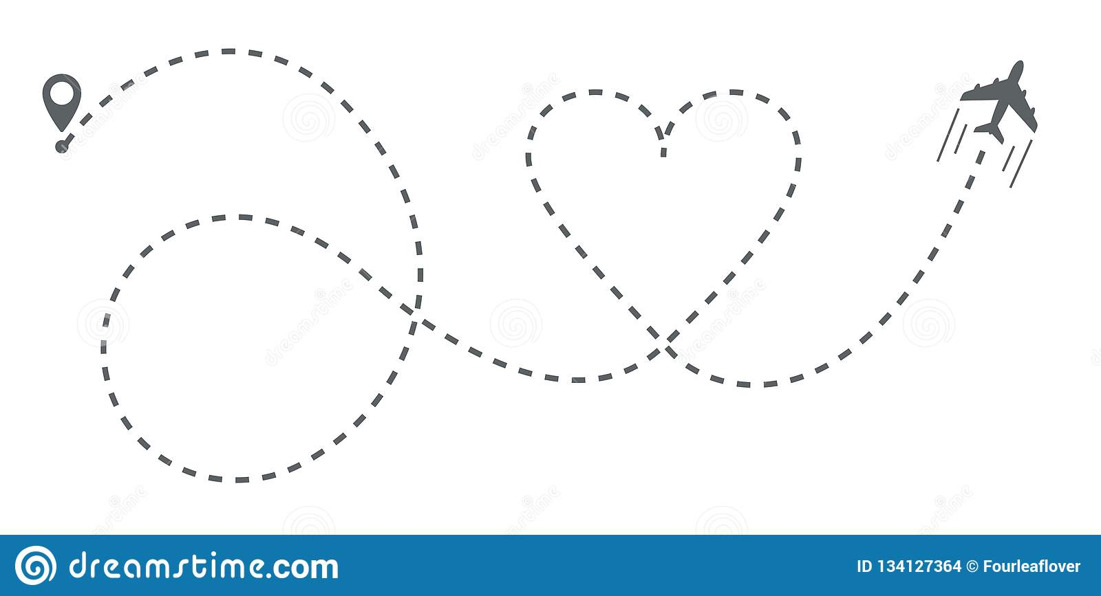 Airplane Heart Shaped Line Path Stock Vector