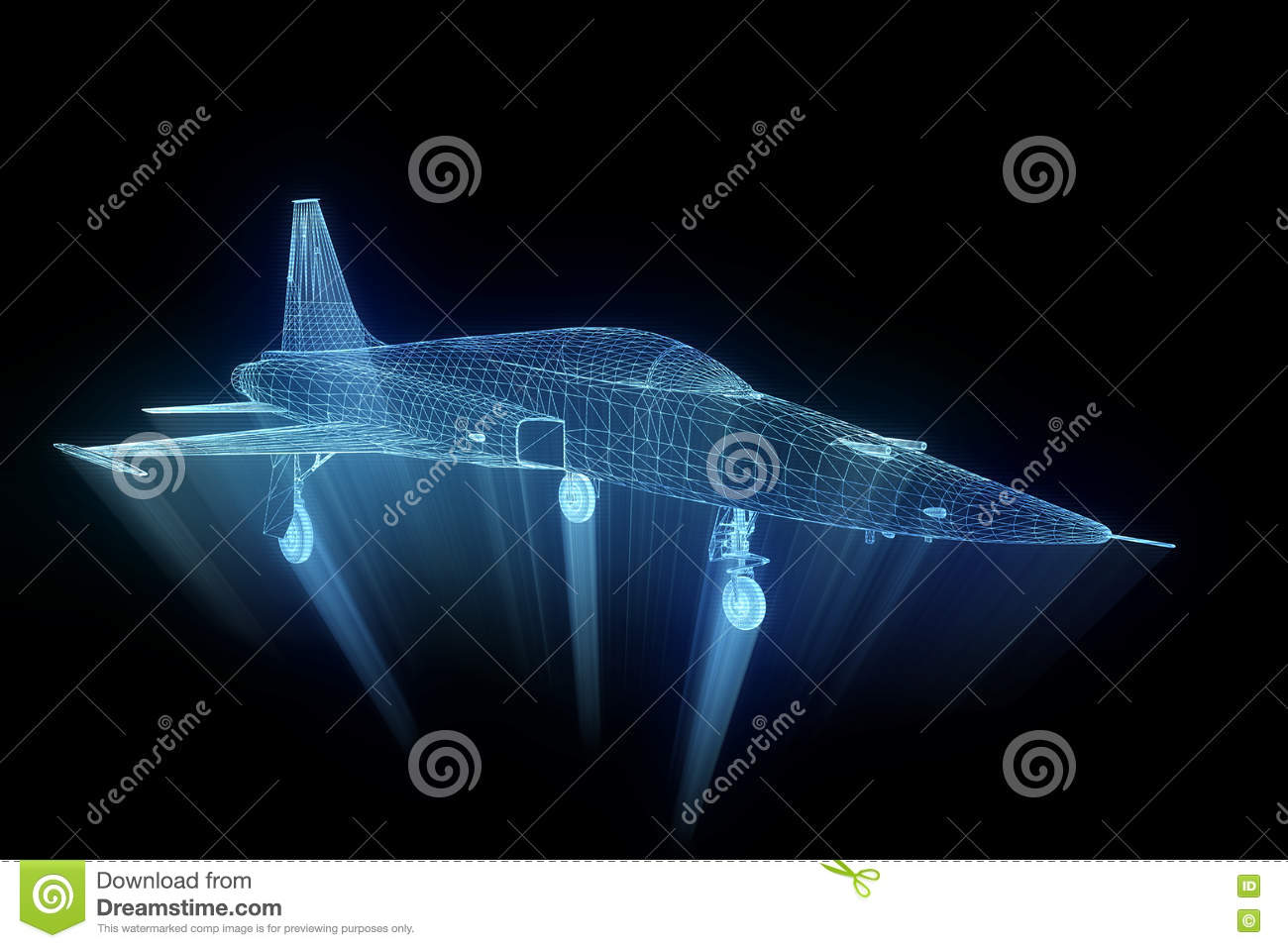 Airplane In Hologram Wireframe Style  Nice 3D Rendering