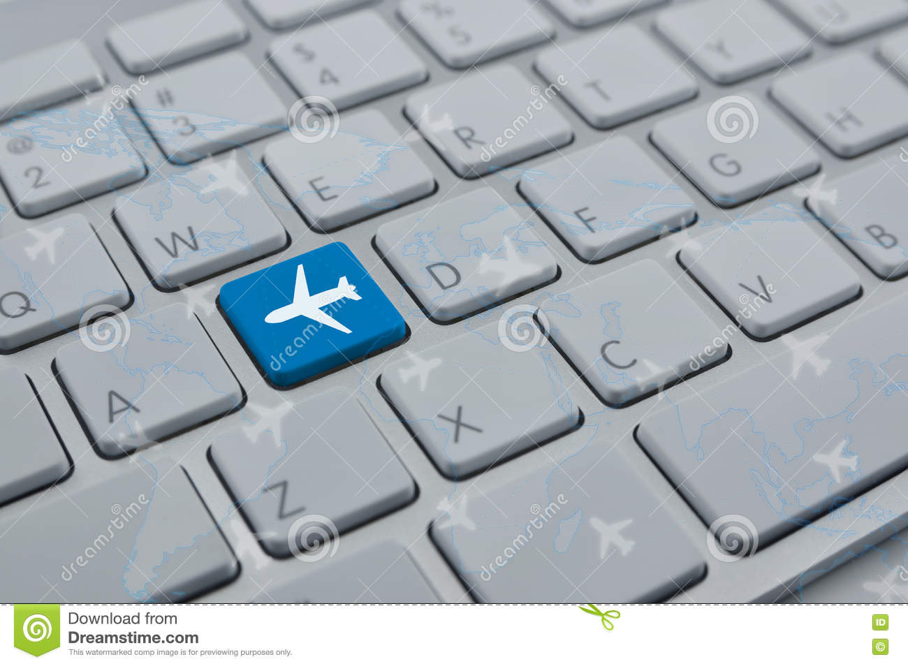 Airplane icon on modern computer keyboard button with world map download airplane icon on modern computer keyboard button with world map stock photo image of gumiabroncs Gallery
