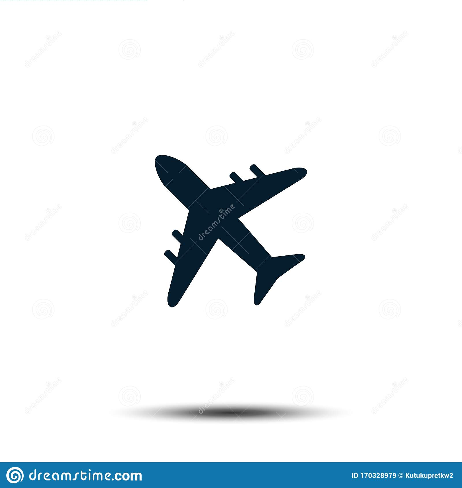 Airplane Icon Vector Template Airport Sign Flat Design Stock
