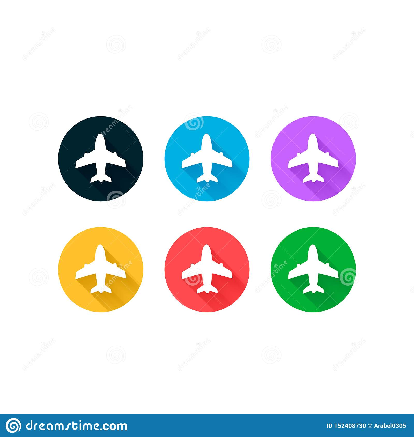 Airplane icons set vector design Logo Template. Travel background with aircraft and place for your text