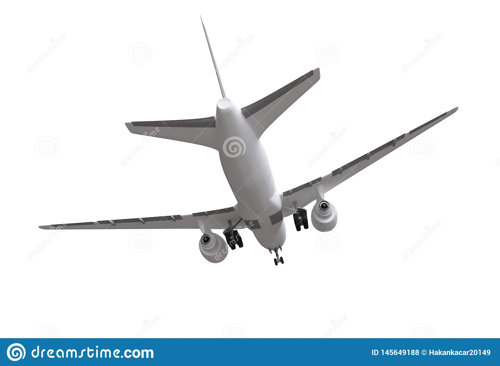 3d rendering. airplane isolated on white background.