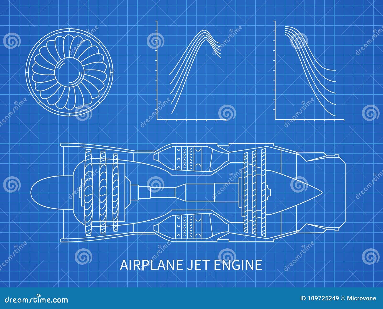 Airplane jet engine with turbine vector blueprint design stock airplane jet engine with turbine vector blueprint design stock vector illustration of isolated mechanical 109725249 malvernweather Choice Image