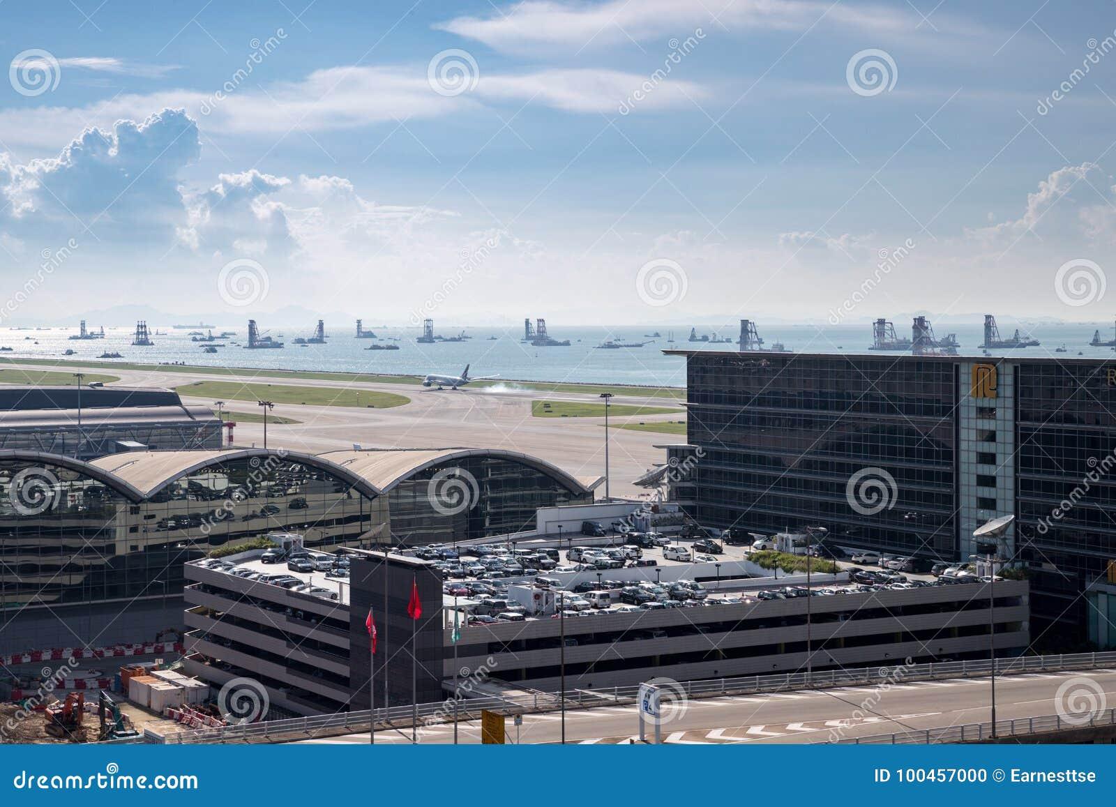 Airplane Landing At Hong Kong International Airport