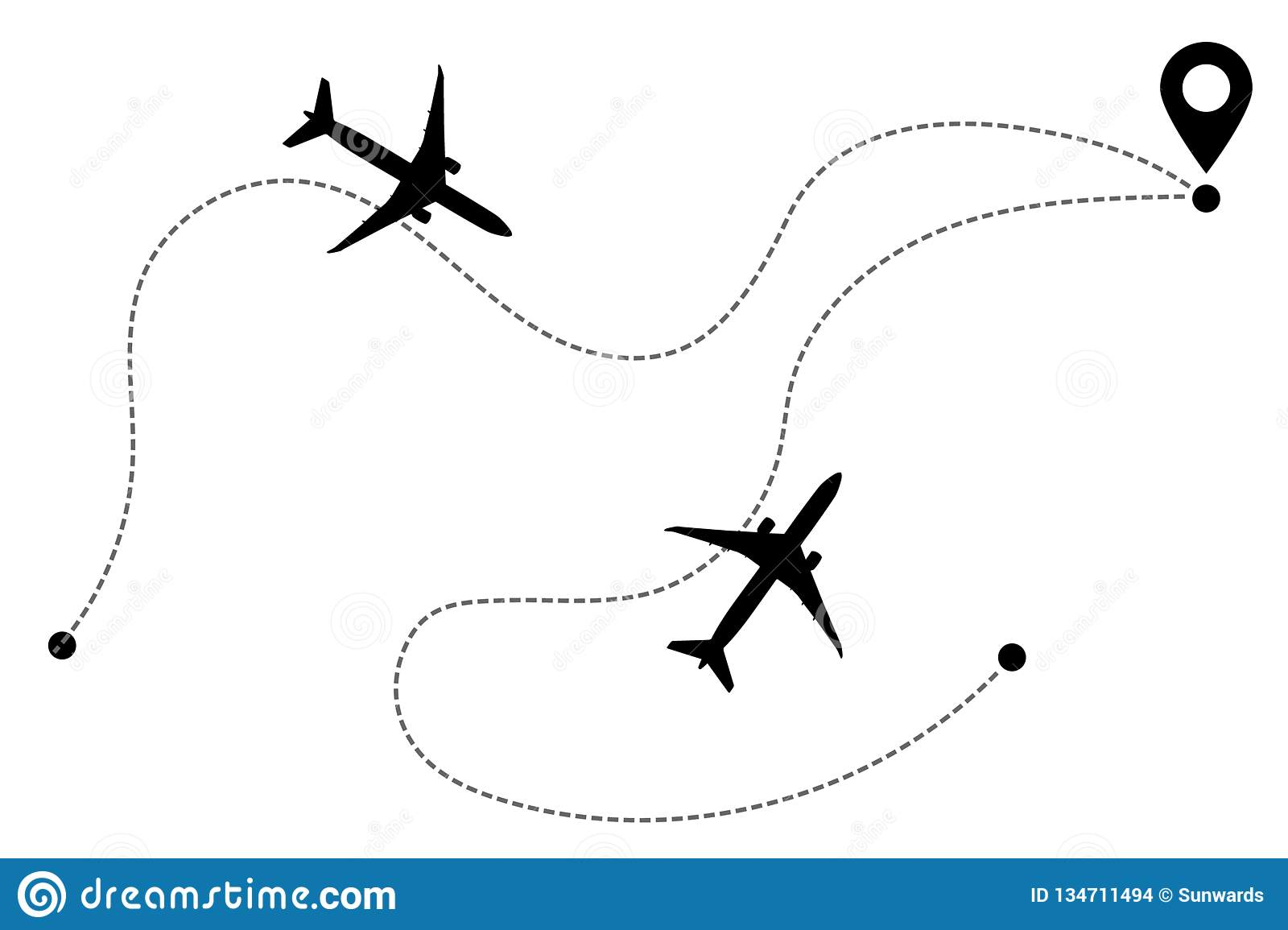 Airplane Line Path Vector Icons Flight Routes Stock Vector