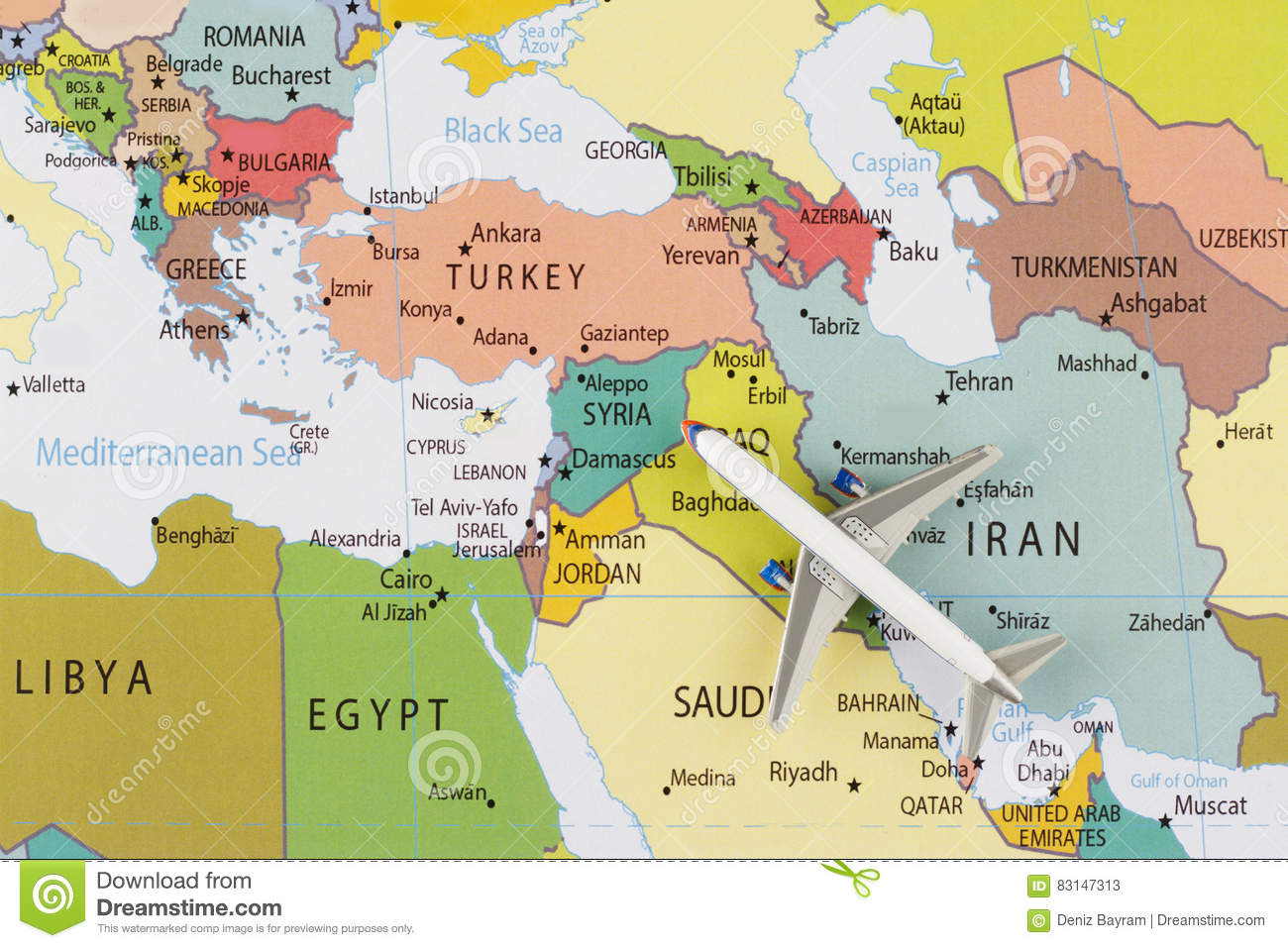 Tel Aviv Middle East Map.Airplane On Map Stock Image Image Of Greece Europe 83147313