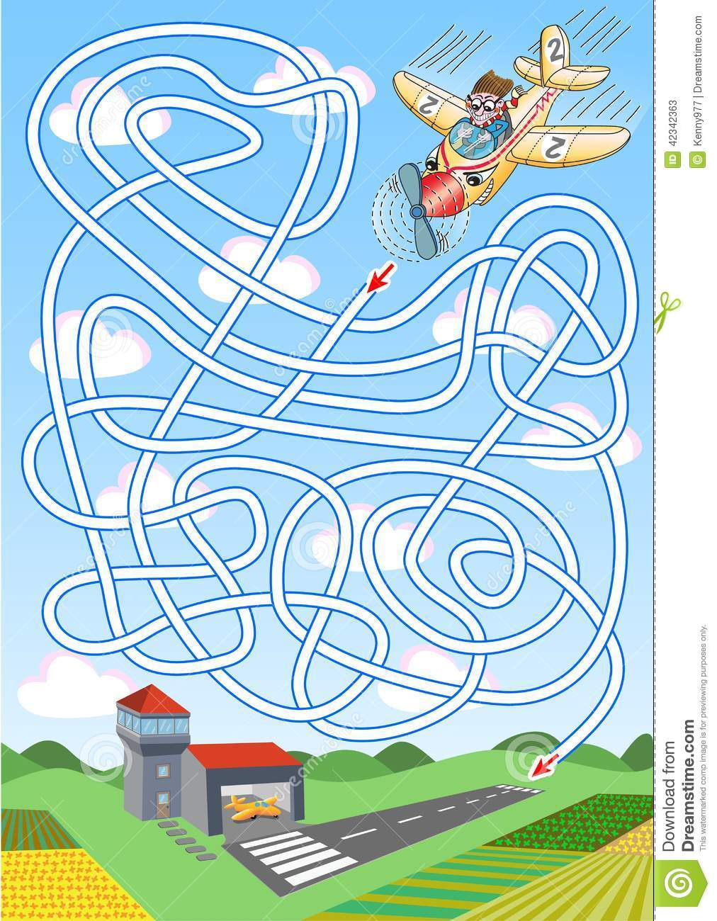 Airplane Maze For Kids Stock Vector Image Of Printable
