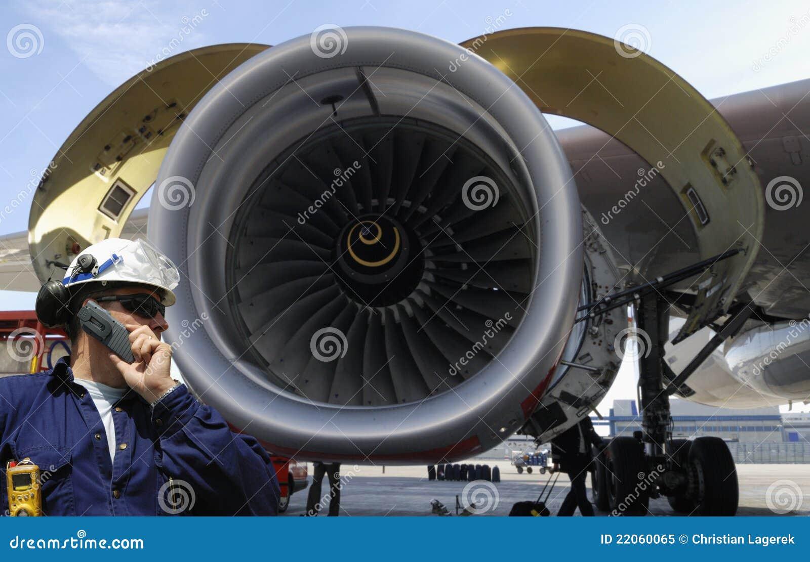 airplane mechanic and jet engine royalty free stock photo