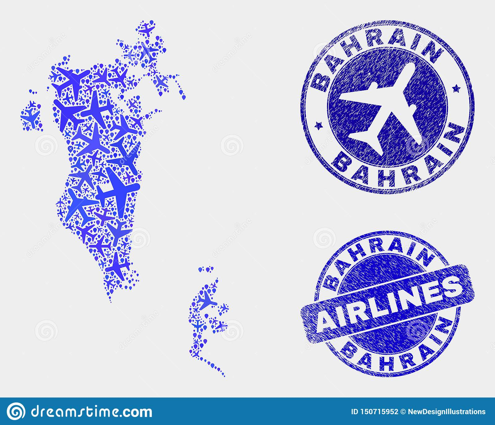 Airplane Mosaic Vector Bahrain Map And Grunge Stamps Stock ...