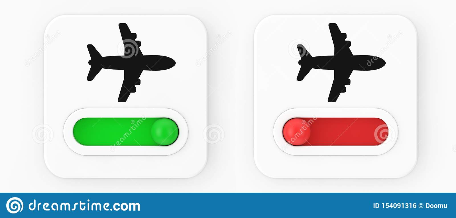 Airplane On Off Mode Toggle Switch Icon  3d Rendering Stock
