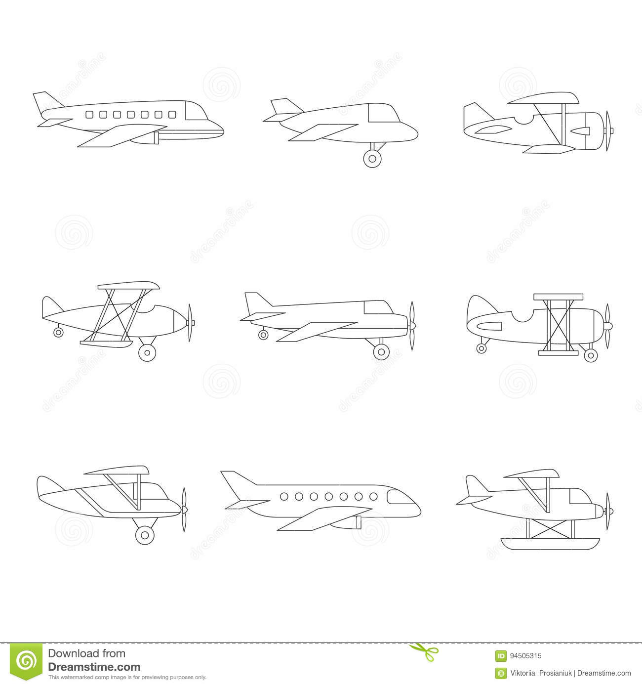 simple old airplane drawing