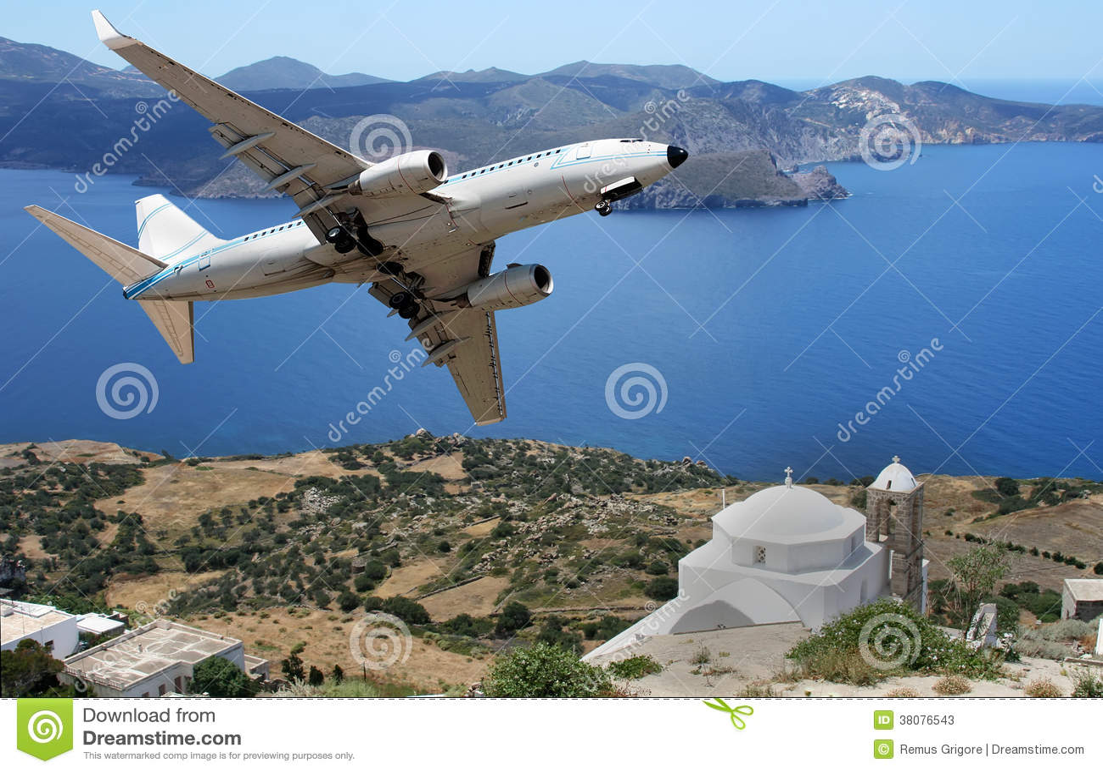 Airplane over a greek insland