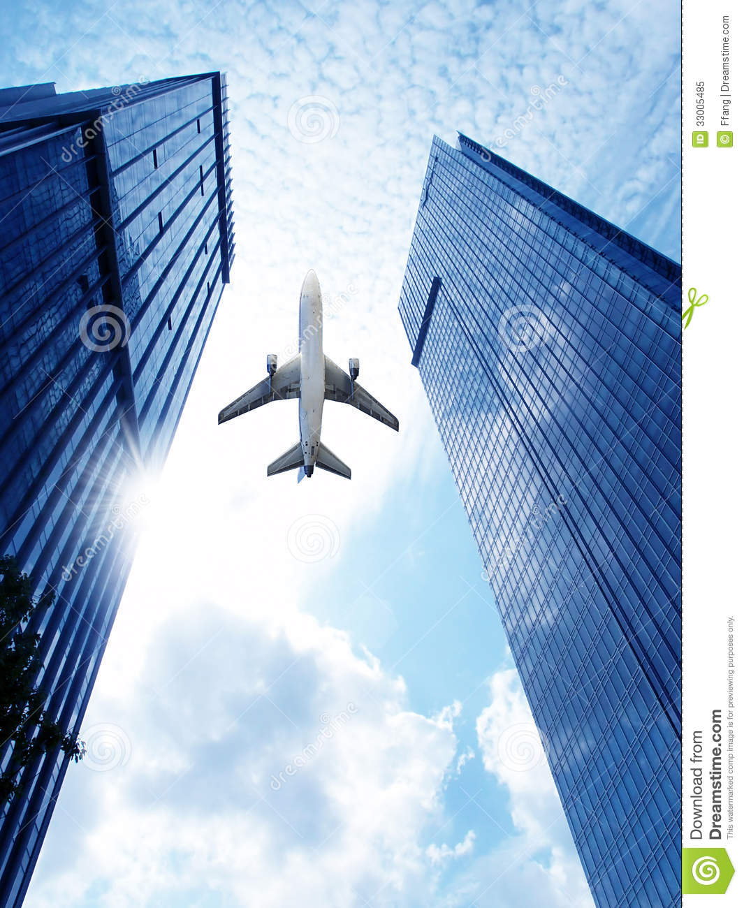 Airplane Over Office Building. Stock Image