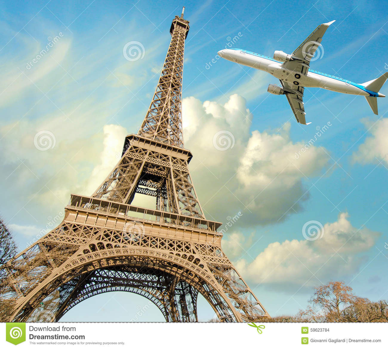 Luxury Airplane Over Eiffel Tower : Airplane overflying eiffel tower in paris stock photo