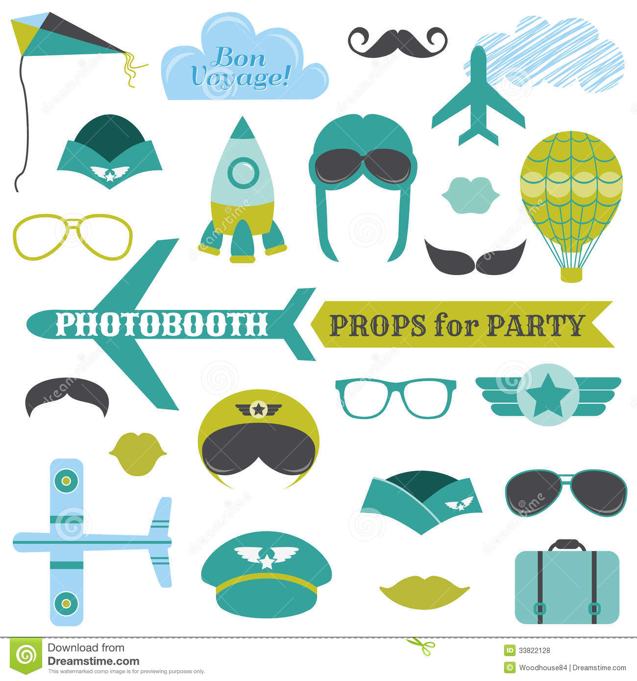 Airplane Party Set - Photobooth Props Royalty Free Stock Photos - Image: 33822128