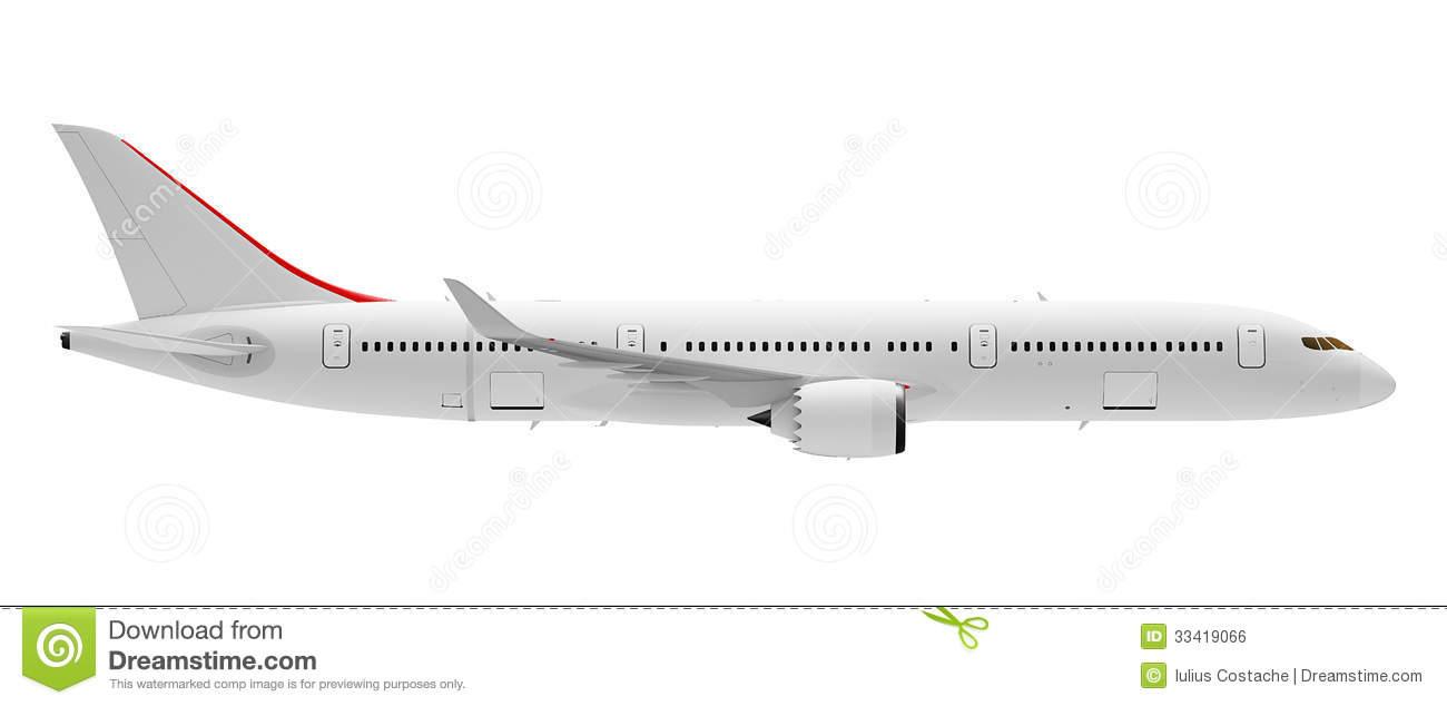 Passenger airplane Airbus A360 800 isolated on white background, side ...