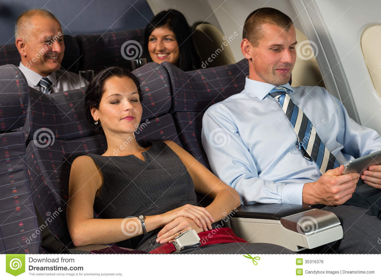 Airplane Passenger Relax Flight Cabin Sleep Passengers Businesspeople