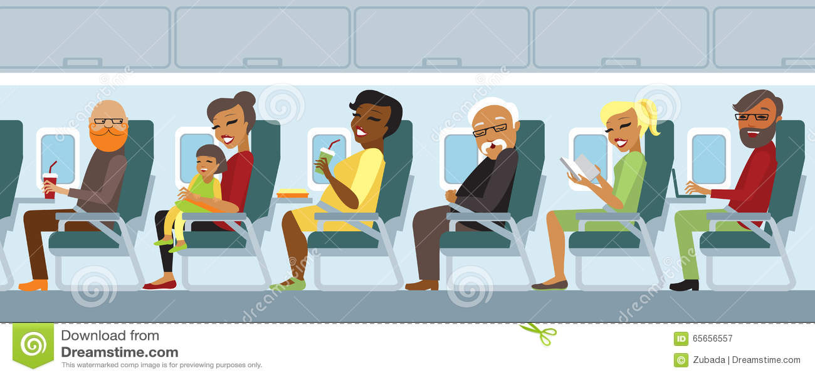 Airplane passengers on the flight