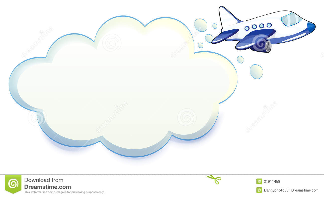 Illustration of an airplane passing through the cloud on a white ...