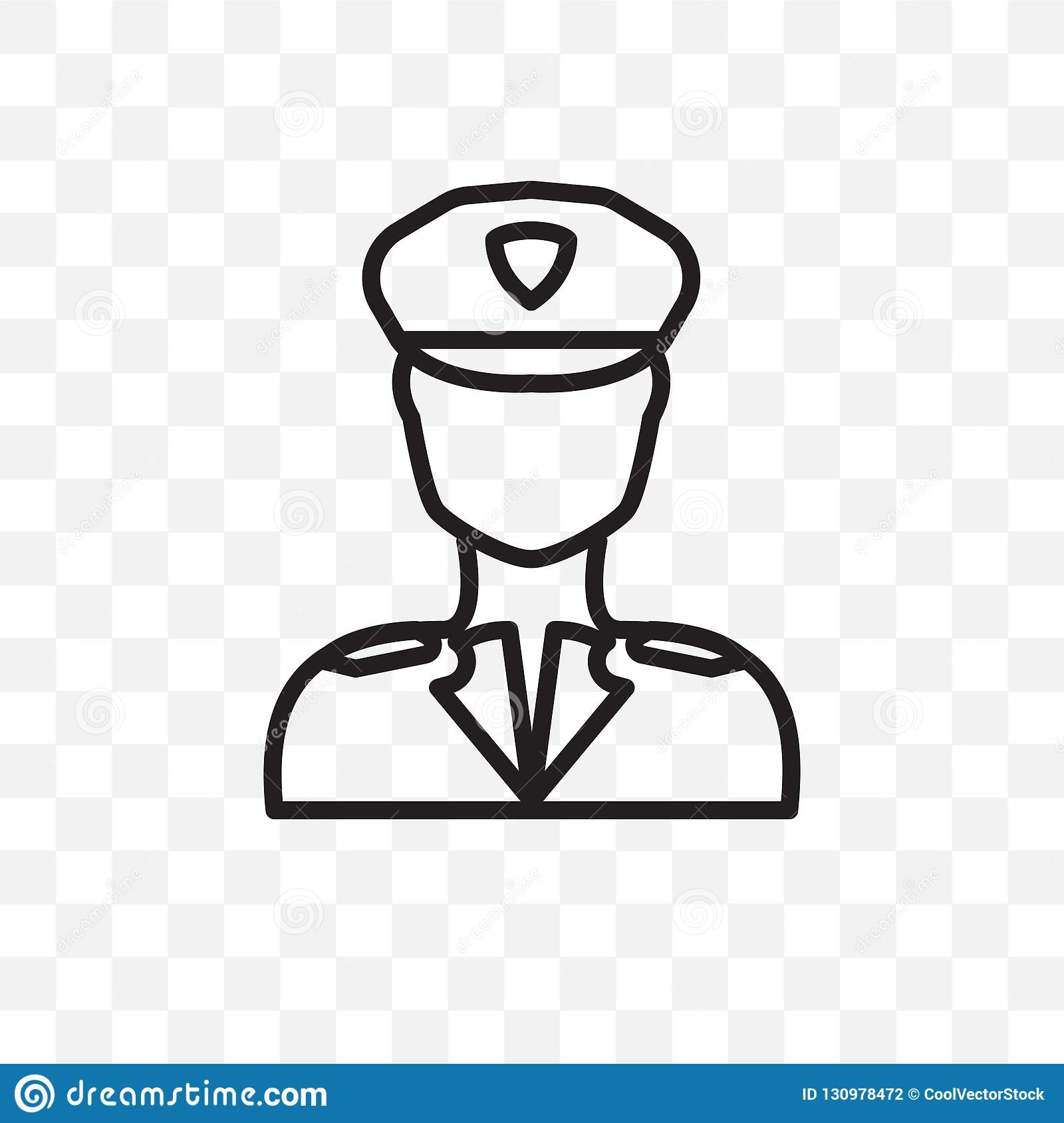 Airplane Pilot Vector Linear Icon Isolated On Transparent