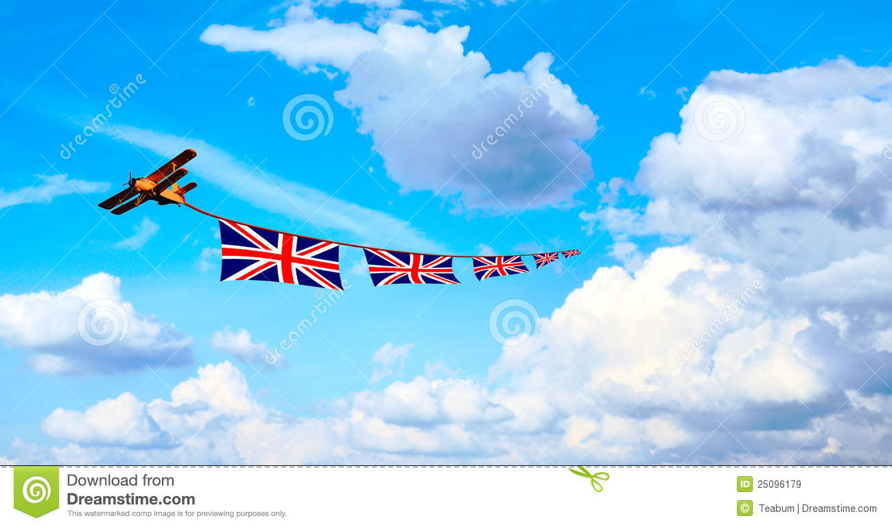 airplane pulling british flags union jack stock illustration