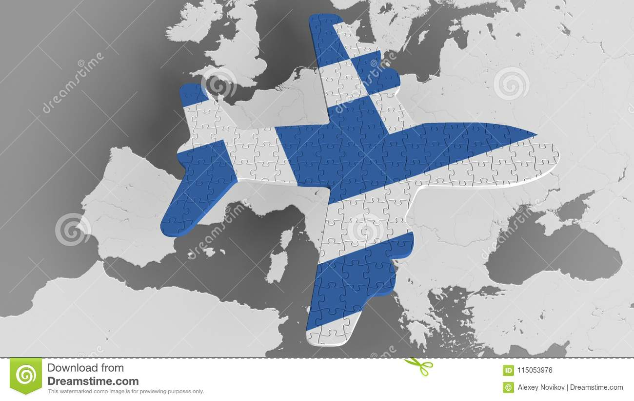 Airplane Puzzle Featuring Flag Of Greece Against The World ...