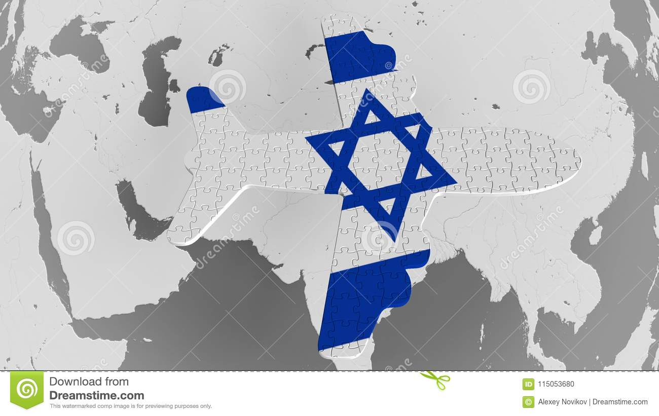 Airplane Puzzle Featuring Flag Of Israel Against The World ...
