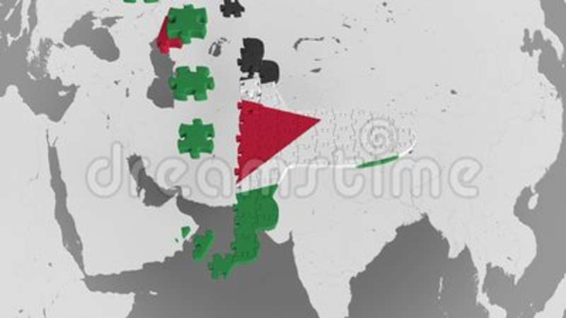 Airplane Puzzle Featuring Flag Of Jordan Against The World Map ...