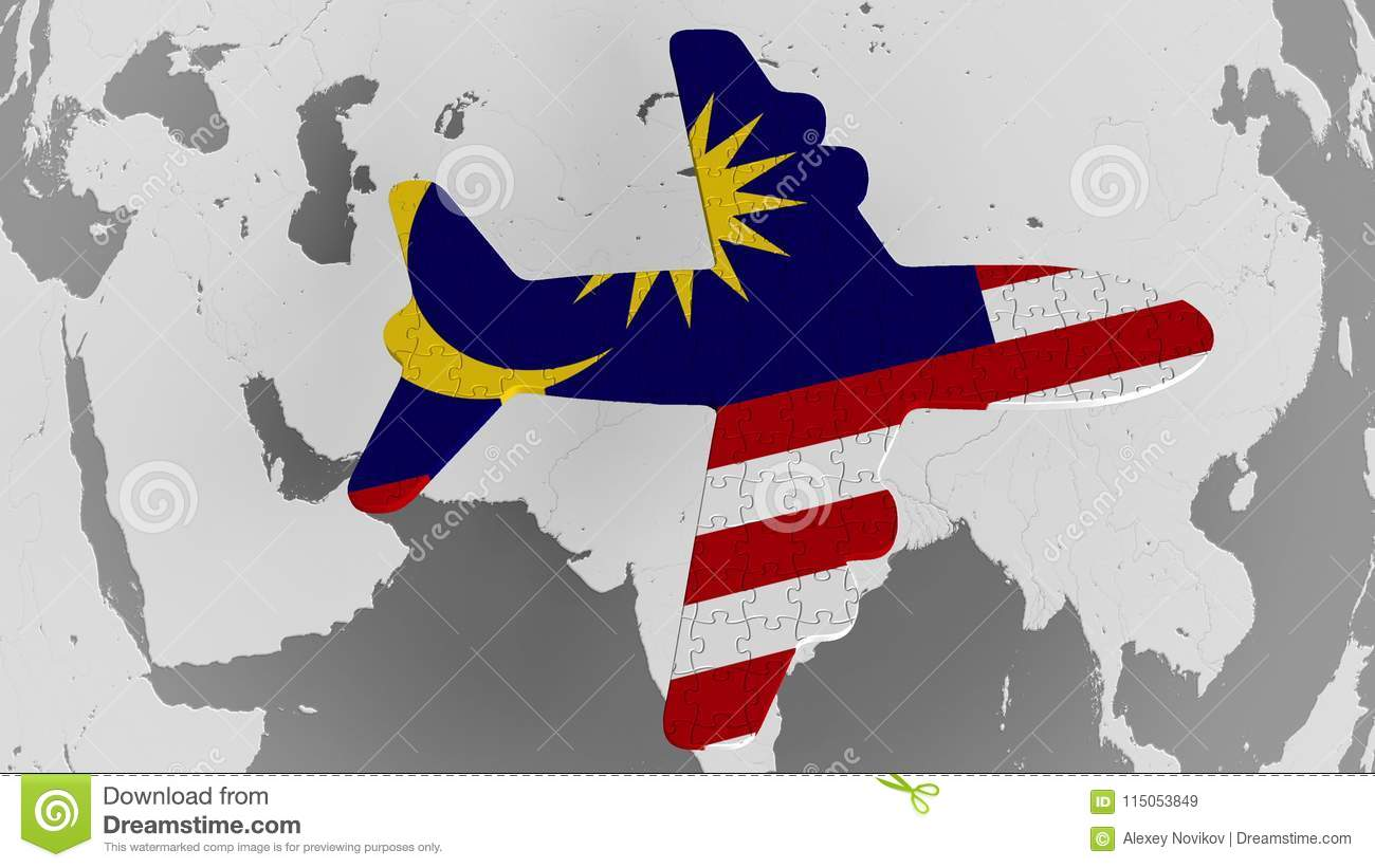Airplane Puzzle Featuring Flag Of Malaysia Against The World Map ...