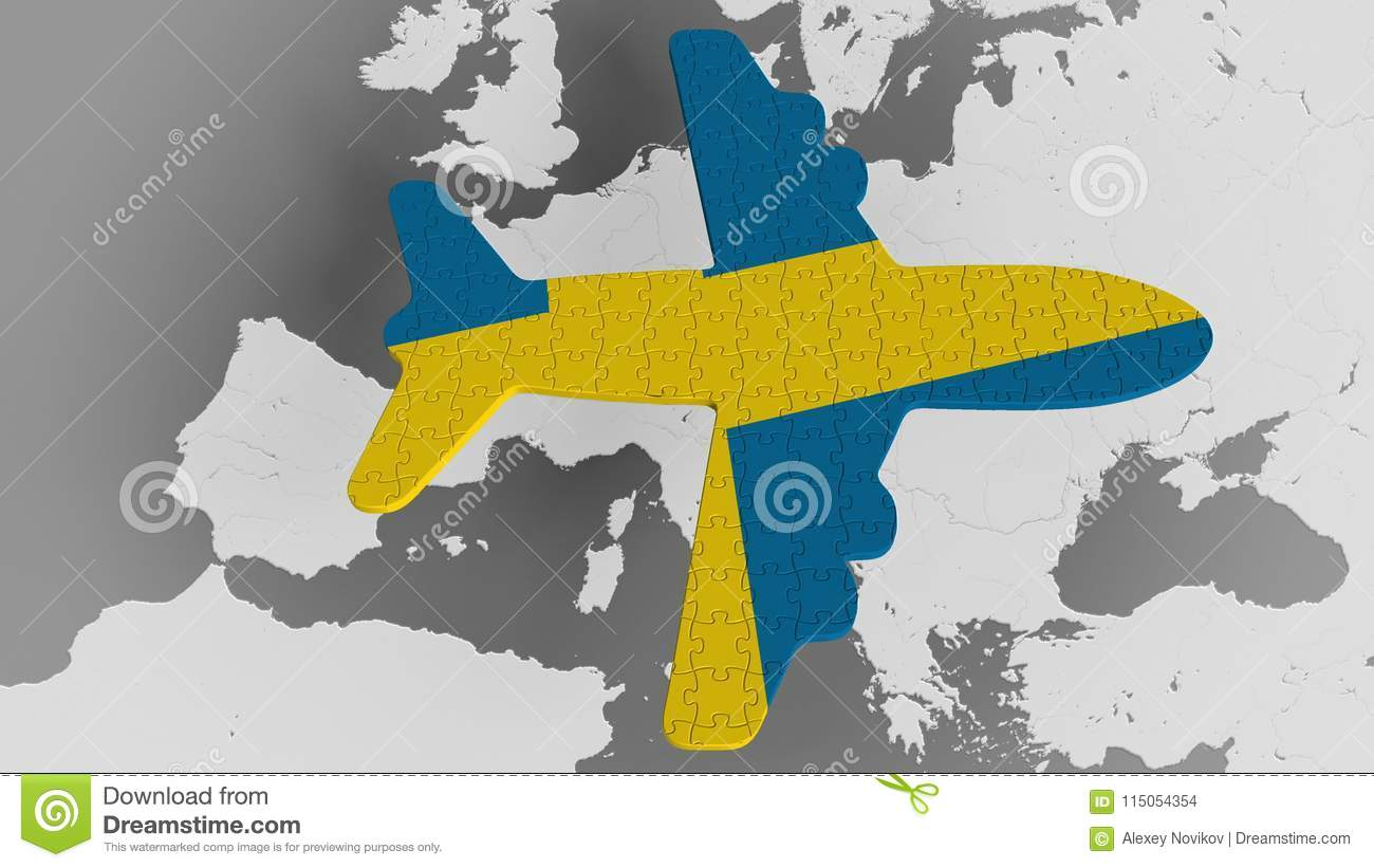 Airplane Puzzle Featuring Flag Of Sweden Against The World Map ...