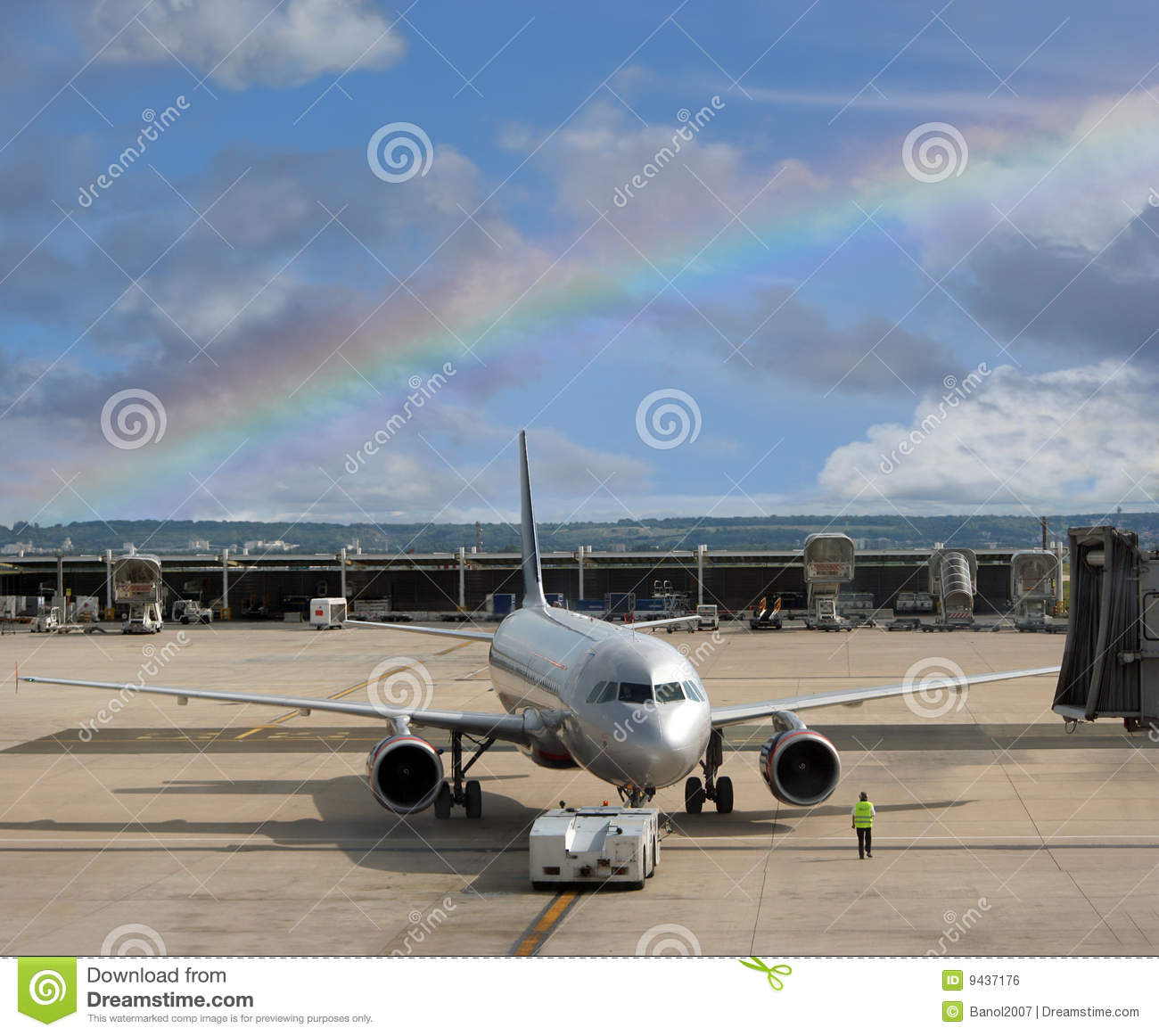 Airplane At The Rainbow Airport. Stock Photo - Image of ...
