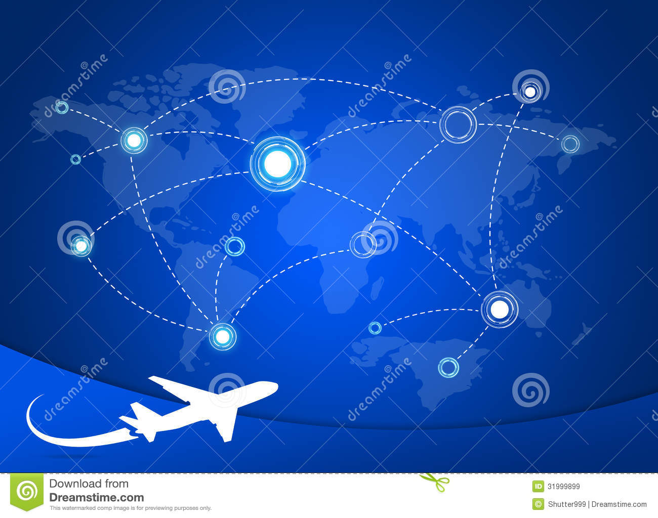 Airplane Routes On Map Royalty Free Stock Images - Image: 31999899