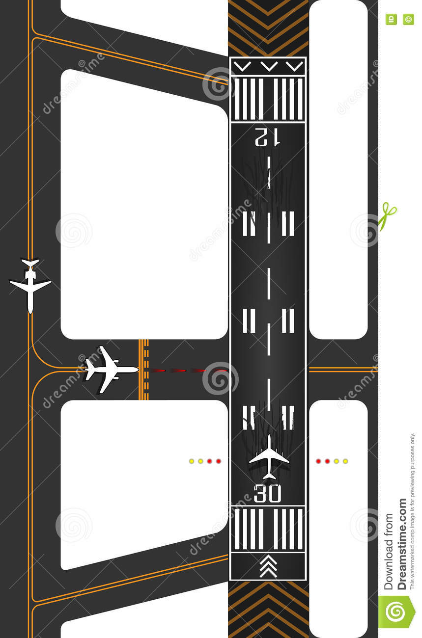 Airplane runway with exits