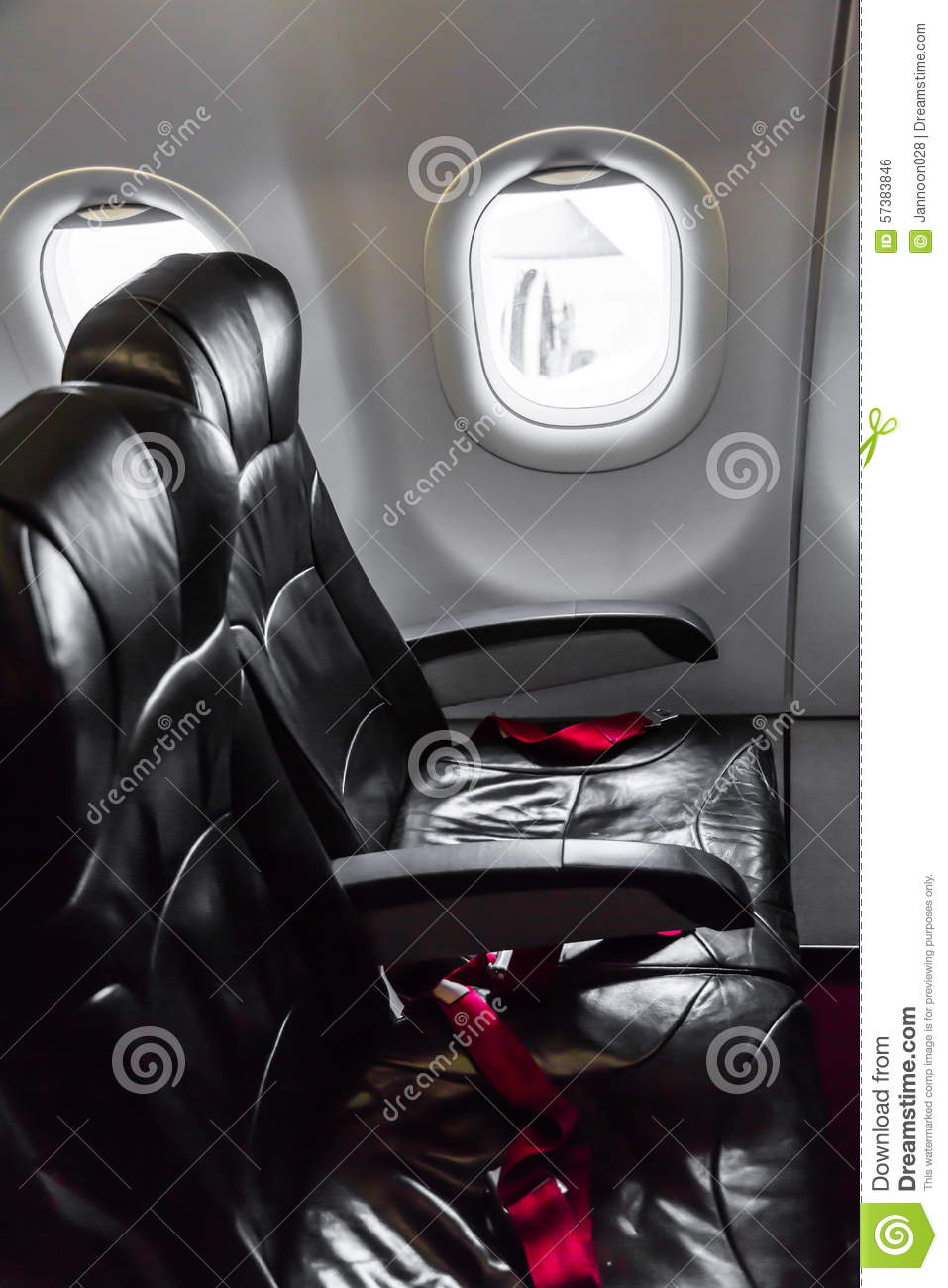Aircraft Seats: Airplane Seats In The Cabin Stock Photo