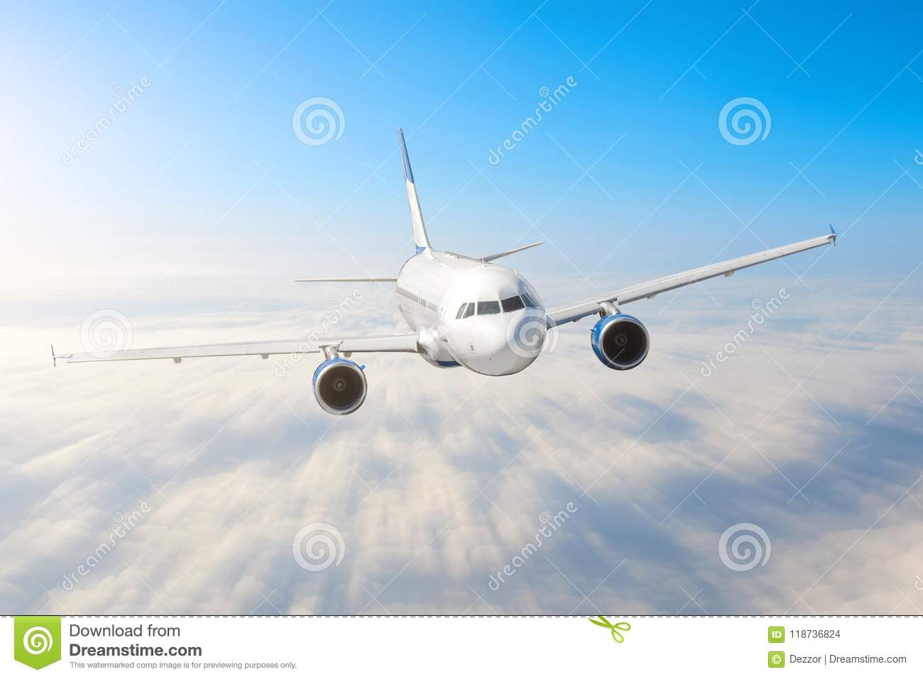 Airplane in the sky above the clouds flight journey sun height speed motion blur. Passenger commercial aircraft. Business travel.