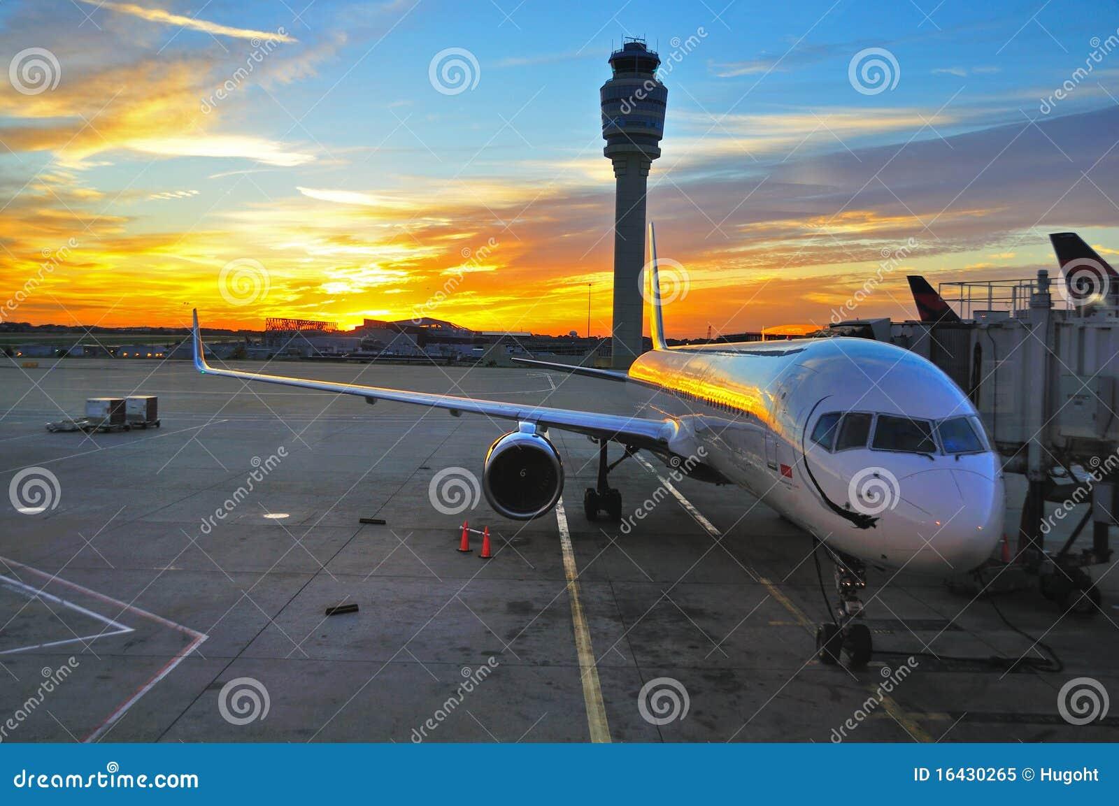 Airplane at sunrise