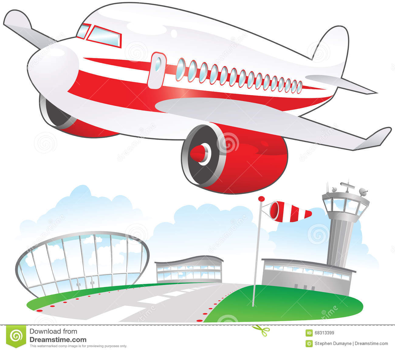 Airplane Taking Off At... Airport Cartoon Images