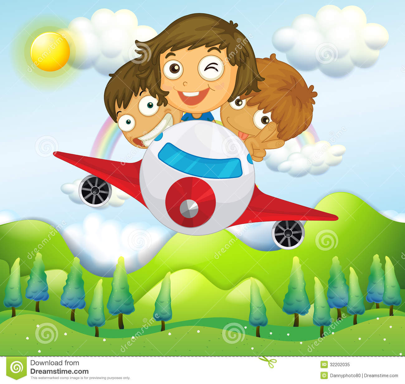 an airplane with three playful kids