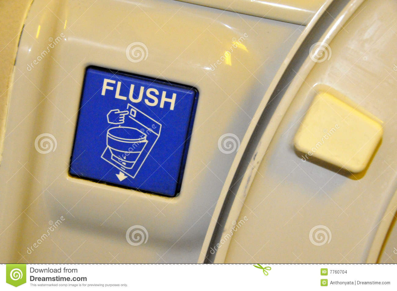 Airplane Toilet Flushing Sign Stock Photo