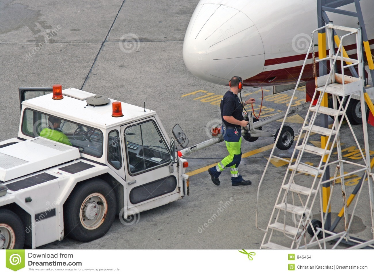 Airplane tractor airport germany berlin tegel