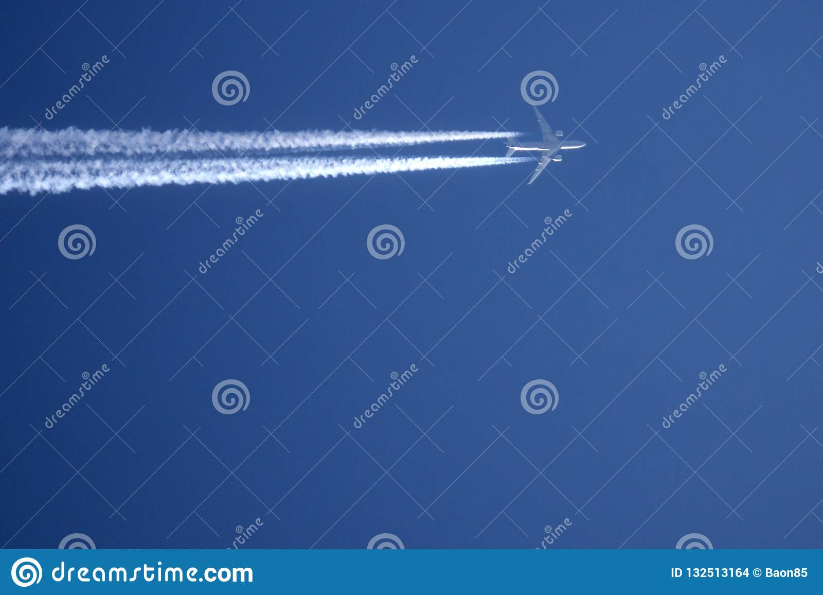 An Airplane Trail Across The Sky Journey Smoke Stock Photo ...
