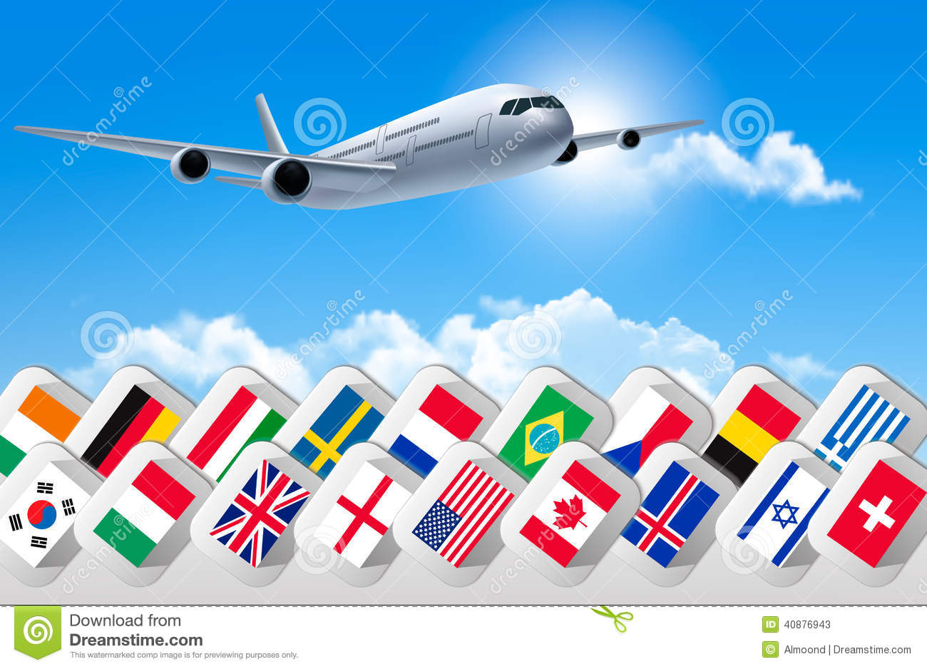 Airplane travel background with flags of different for Countries to go on vacation