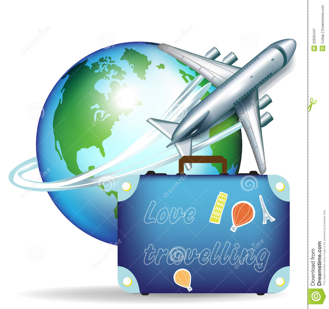 Airplane And Travel Suitcase Royalty Free Stock