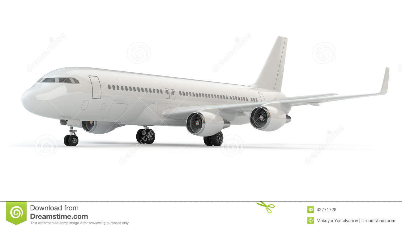 Airplane On White Background. Stock Illustration - Image ...
