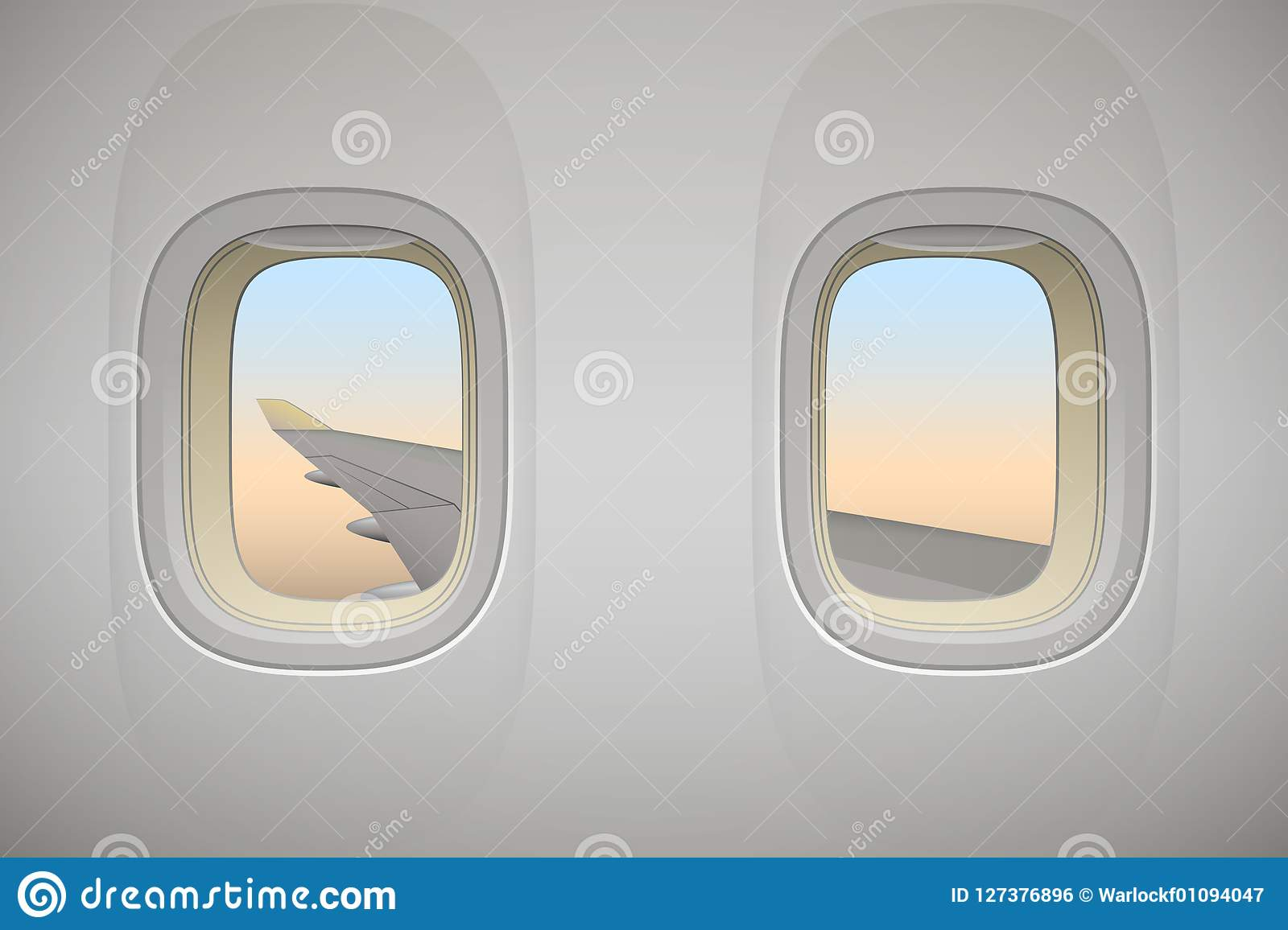 Airplane window, aircraft window with wing