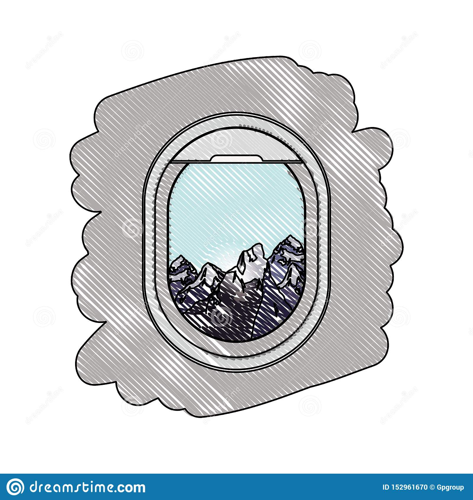 Airplane Window With Exterior View Stock Vector Illustration Of
